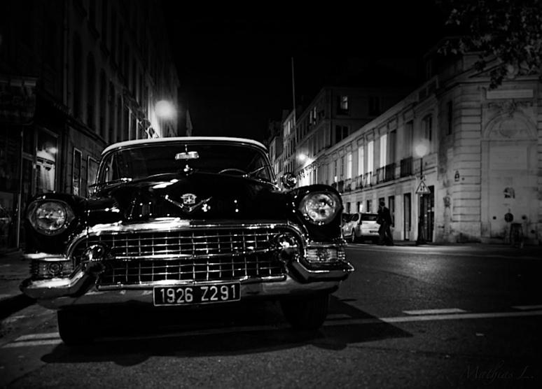 Cadillac at night